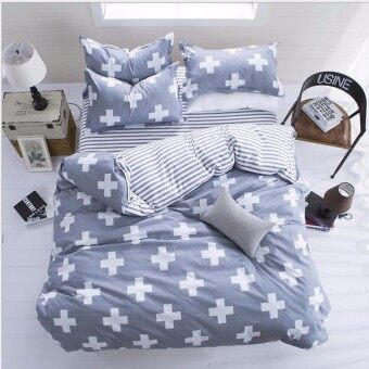 White Cross Single Size Bed Set Pillowcase Quilt Duvet Cover