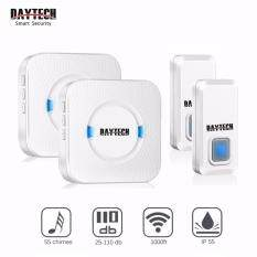 Wireless doorbell easily installed with waterproof IP55 alarm push button, Plug-in and play receiver no battery required. Remote button with 55 chime ring tones. Adjustable volume from 110db.