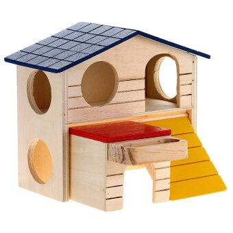 WiseBuy Wooden Bed House Cage Dual Layer Villa for Rat Hamster Mouse