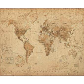 World Map (Antique) - GB Eye Poster (40 cm X 50 cm)