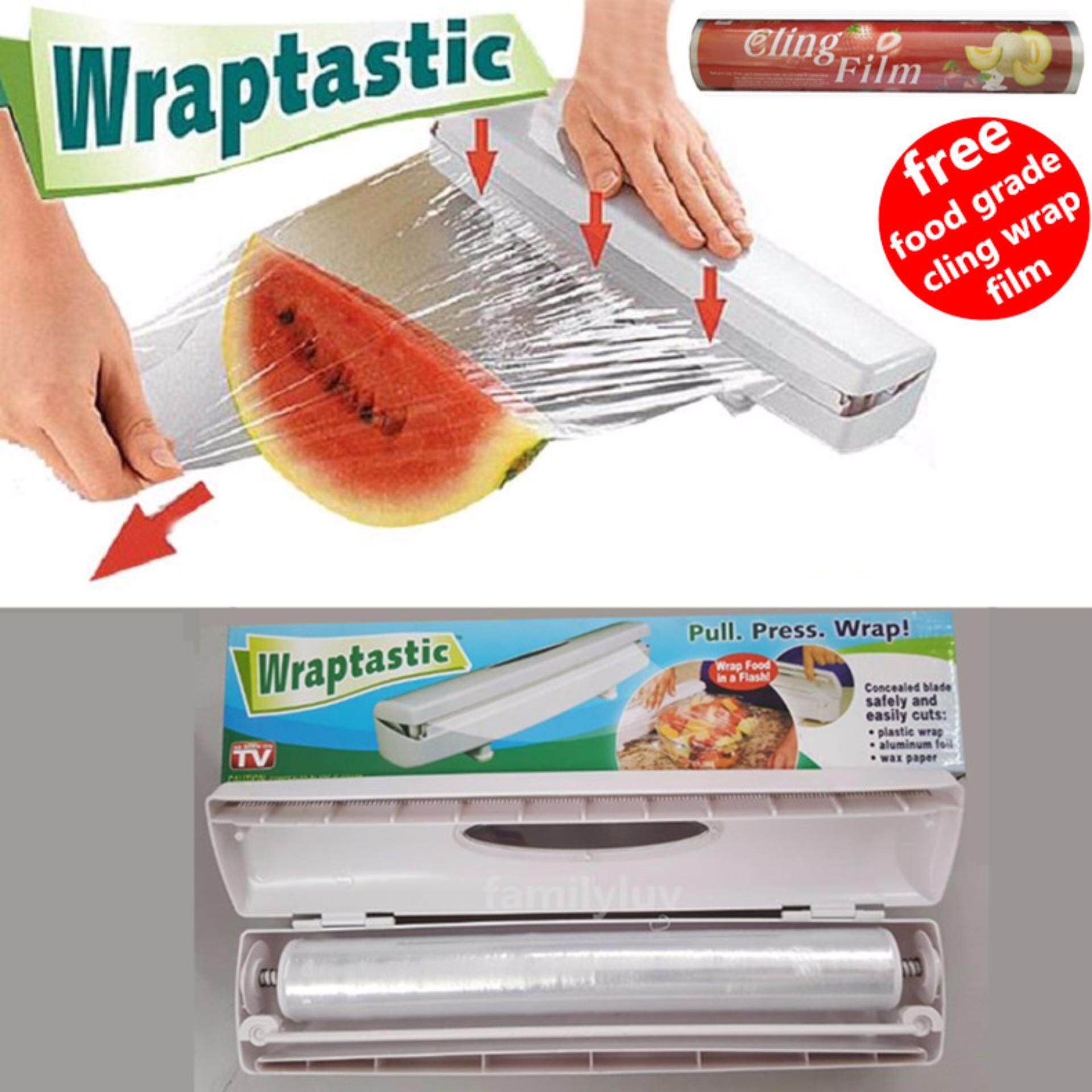 Wraptastic Dispenser Plastic wrap/Preservative film cutter For Foil or  Cling Wrap (Fast Neat Safety Cutting Hidden Blade)