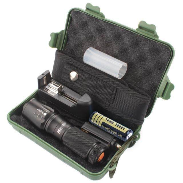 Harga X800 Zoomable XML T6 LED Tactical Police Flashlight18650 Case