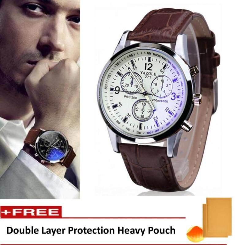 Yazole Vintage Unisex Leather Band Stainless Steel Sport MilitaryQuartz Wrist Watch (Brown&White) Malaysia