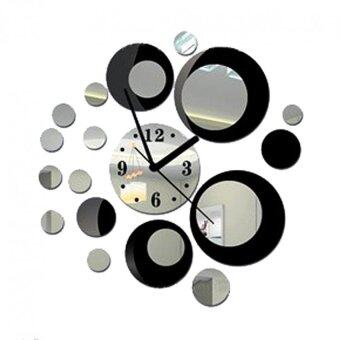 Harga YBC Fashion Stereo Round Mirror Wall Clock Homen Decoration (Black)