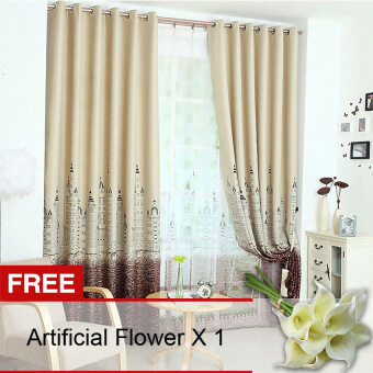Yika 1Pcs 100*250cm Sun Insulation Blackout Castle Pattern Curtain (Coffee) [Buy 1 Get Freebie]