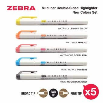ZEBRA WKT7-N-5C Mildliner Double-Sided Highlighter - Fine / Bold -New Colors (5 Color Set)