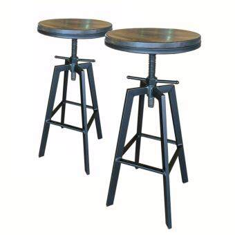 Harga ZIGGAMA Vintage Industrial Stlye Bar Stool with wooden seat x2units