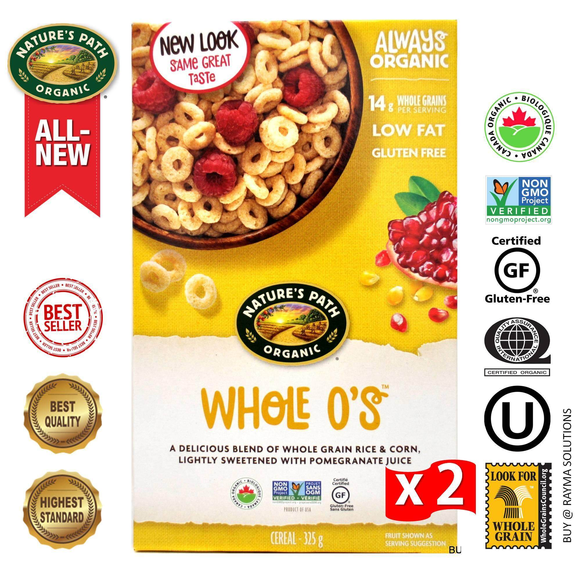 [$AVE More!] NATURE'S PATH ORGANIC Whole O's Cereal, Gluten Free, 325g - Twin Pack