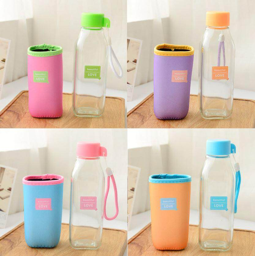 420 ml Square Glass Colourful Cloth Cover Bottle ACC-049