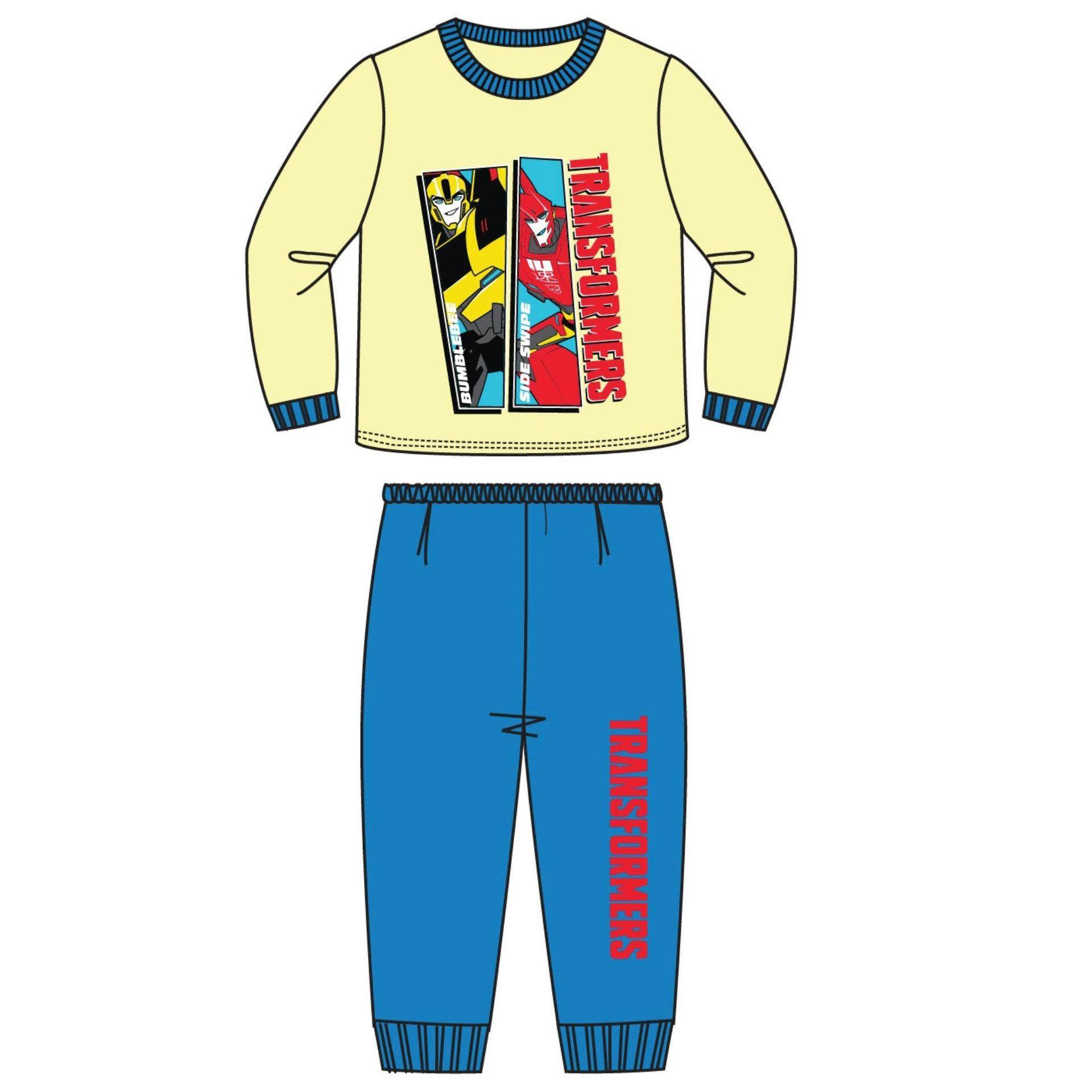 Transformers Children Kids Pajamas Homewear For Age 5yrs To 12yrs 100% Cotton - Yellow Blue