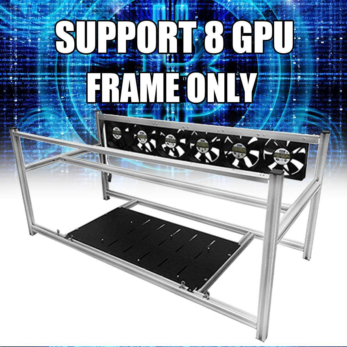 8 GPU Aluminum Open Air Mining Rig Frame Case w/ Stackable Kits For ETH Ethereum