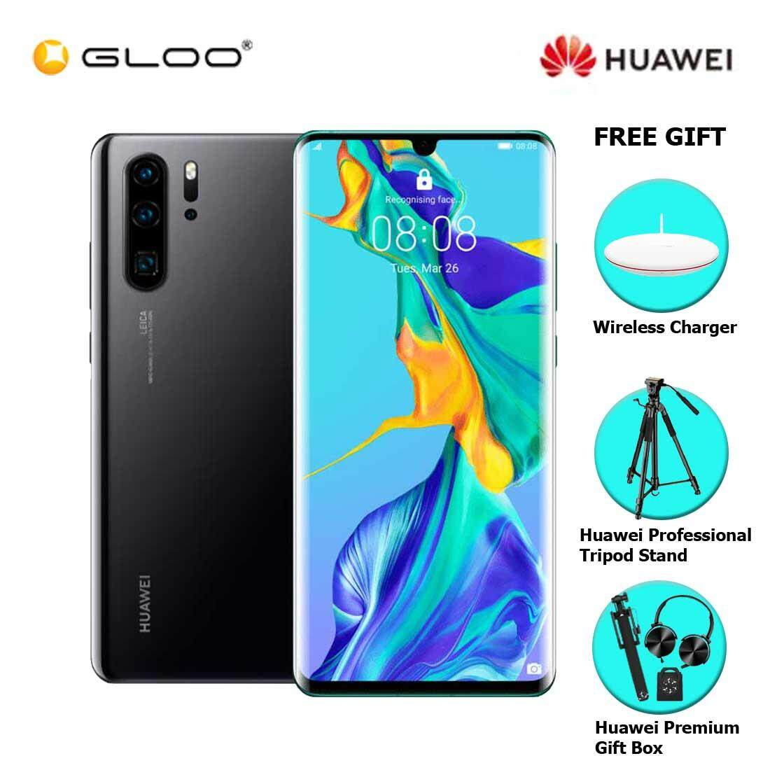 Huawei P30 Pro 8GB+256GB Black + FREE Huawei Wireless Charges CP60 6901443259328,Huawei Professional Tripod Stand,Premium Gift Box (Headset/Selfie Stick/iRing)