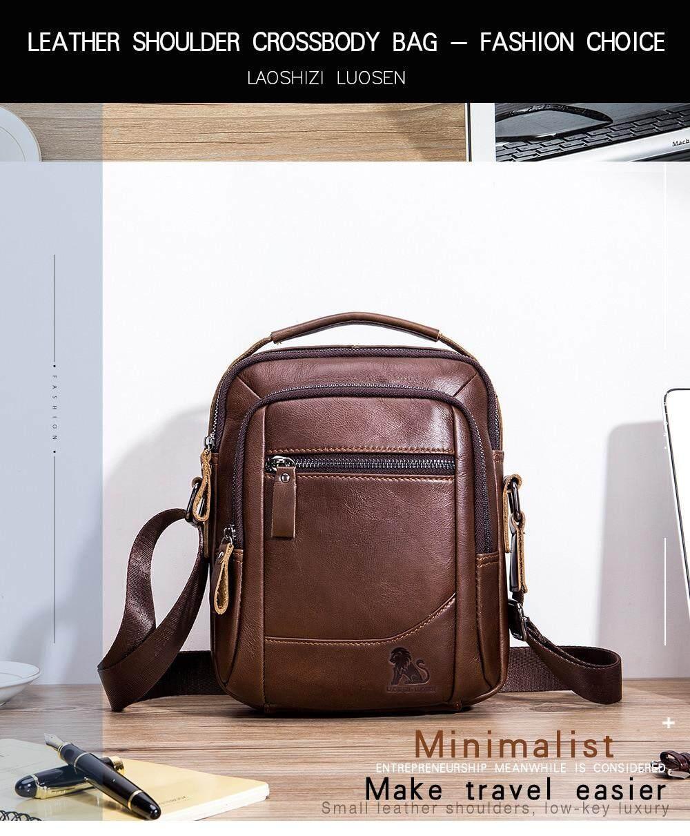 Men/'s Brown Shoulder Messenger Bags Small Cowhide Leather Handbag Briefcase
