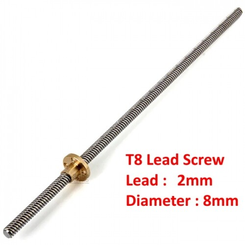 T8 Pitch 2mm lead Stainless Steel Lead Screw With Brass Nut for 3D Printer/CNC