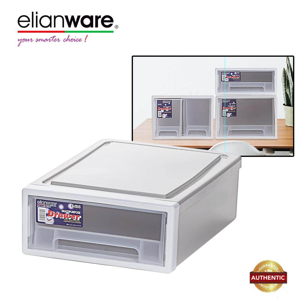 Elianware Elegant Modern Office Drawer Stackable Storage Box Plastic Drawer Rack H115mm (Fits A4 Paper)