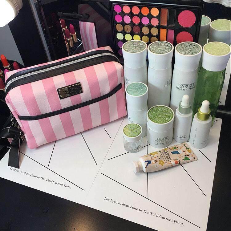 Victoria's Secret Pink Stripes Large Zip VS Bow Makeup Bag