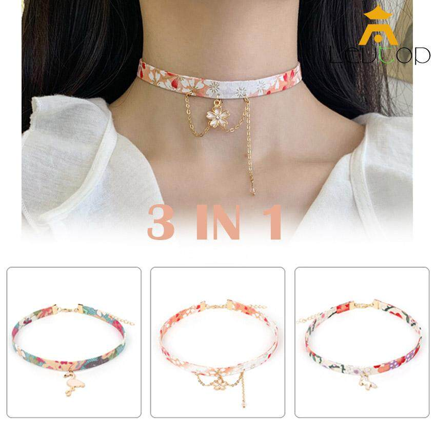 LEVTOP 3pcs Necklace Set Choker Simple Fashion Necklaces Cute Printing Collar Flower Women Girls Ladies Neck Chokers  Koi Japanese Style Sakura Flamingo Fuji Mountain Tassel Stretch