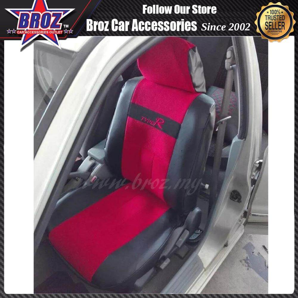 Broz Perodua Myvi Old 2005-10 Type R PVC & Valvet Car Seat Cover Auto Interior Accessories Universal Styling Car Cover (Front & Rear Seat , Total 6 pcs & 2 Headrest cover)