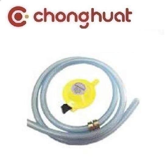 TRAC 182 Low Pressure Gas Regulator (Yellow) + 1.2m Hose (Grey) + 2 hose Clips