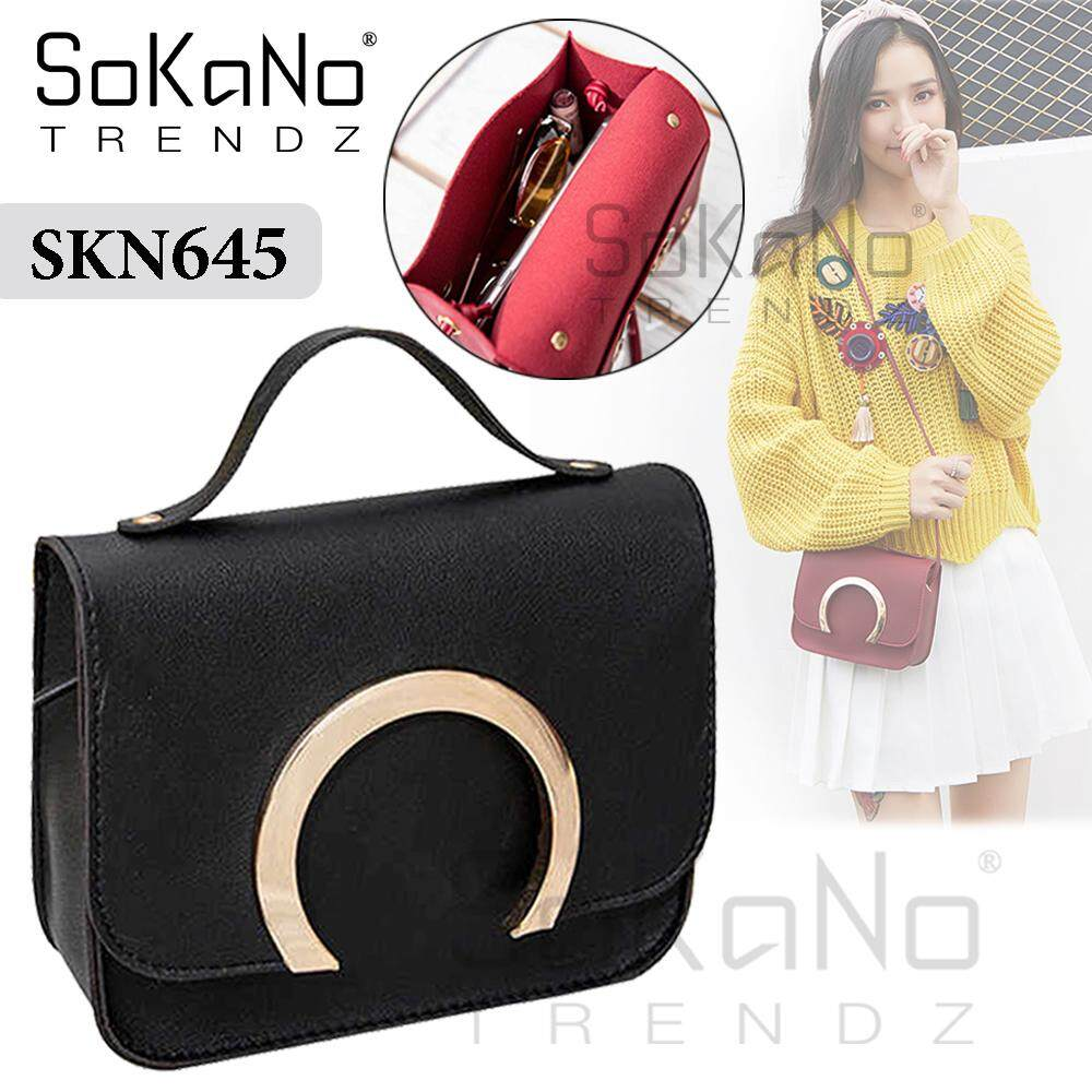 SoKaNo Trendz SKN645 Korean Style PU Leather Sling Bag Crossbody Bag Handbeg Wanita