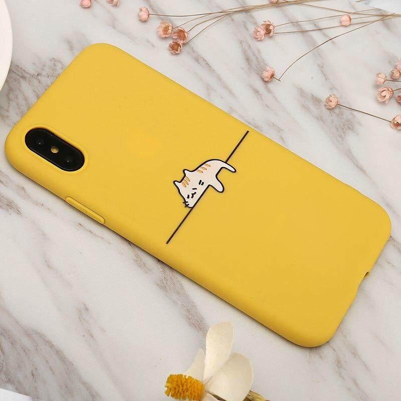 Dễ thương Lazzy Mèo và Hươu Cao Cổ Ốp Lưng Điện thoại Iphone 5 5S SE Mềm TPU Trường Hợp vàng mặt sau dành cho iPhone5 5S SE