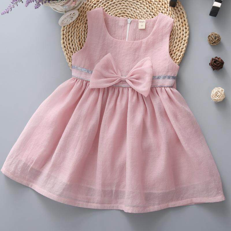 Baby Toddler Girl Cotton Ribbon Dress