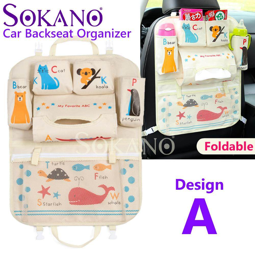 SOKANO Car Backseat Organizer For Kid With Cup Holder For Kids And Toddlers For Bottles, Tissue Boxes and Baby Travel Accessories