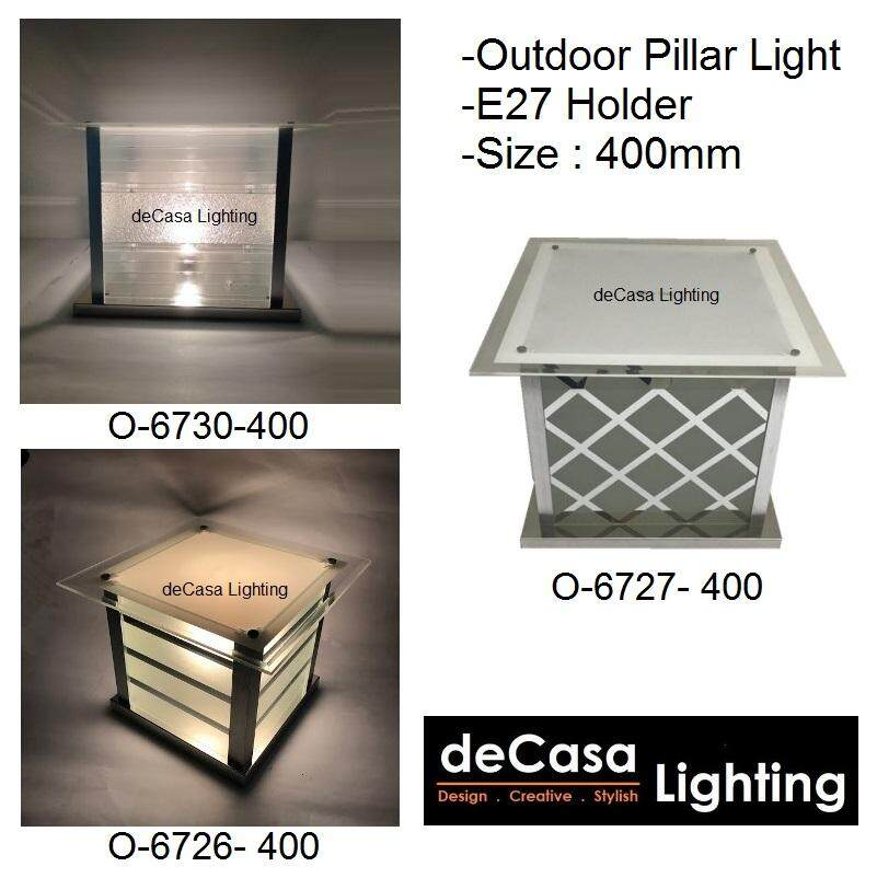 400mm Modern Design Outdoor Lighting Decorative Non-Rusting Glass Decasa Lighting Lampu Hiasan Pagar Best Seller Outdoor Gate Light Weather proof Outdoor Pillar Lamp (O-6727 / 6726 / 6730 -400)