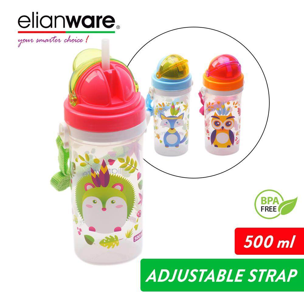 Elianware 500ml Flip Top Cover Baby Tumbler with Straw