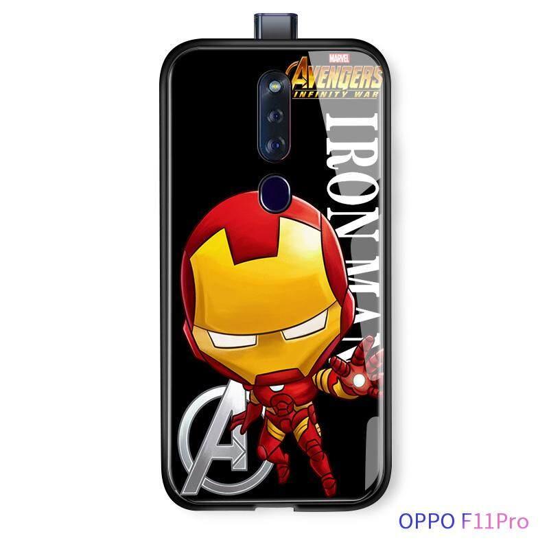 สำหรับ OPPO F11 Pro การ์ตูน Marvel ซูเปอร์ฮีโร่อเวนเจอร์ไอรอนแมนสไปเดอร์แมนปลอกฝาครอบ Avengers Glossy กระจกเทมเปอร์กรณีปลอก