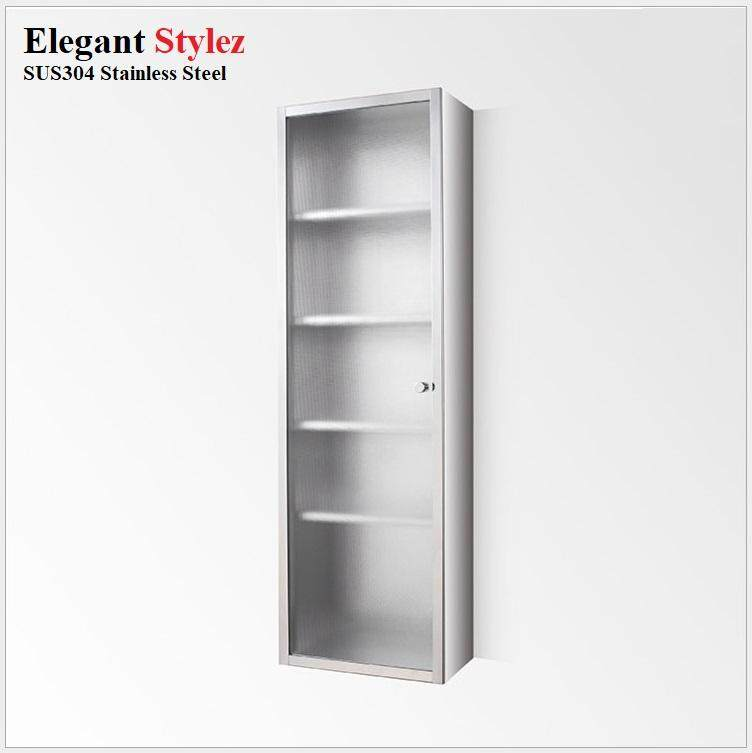 ELEGANT STYLEZ SUS304 STAINLESS STEEL BATHROOM / KITCHEN GLASS DOOR CABINET WALL MOUNTED SINGLE DOOR 250mm X 900mm X 130mm 7043C