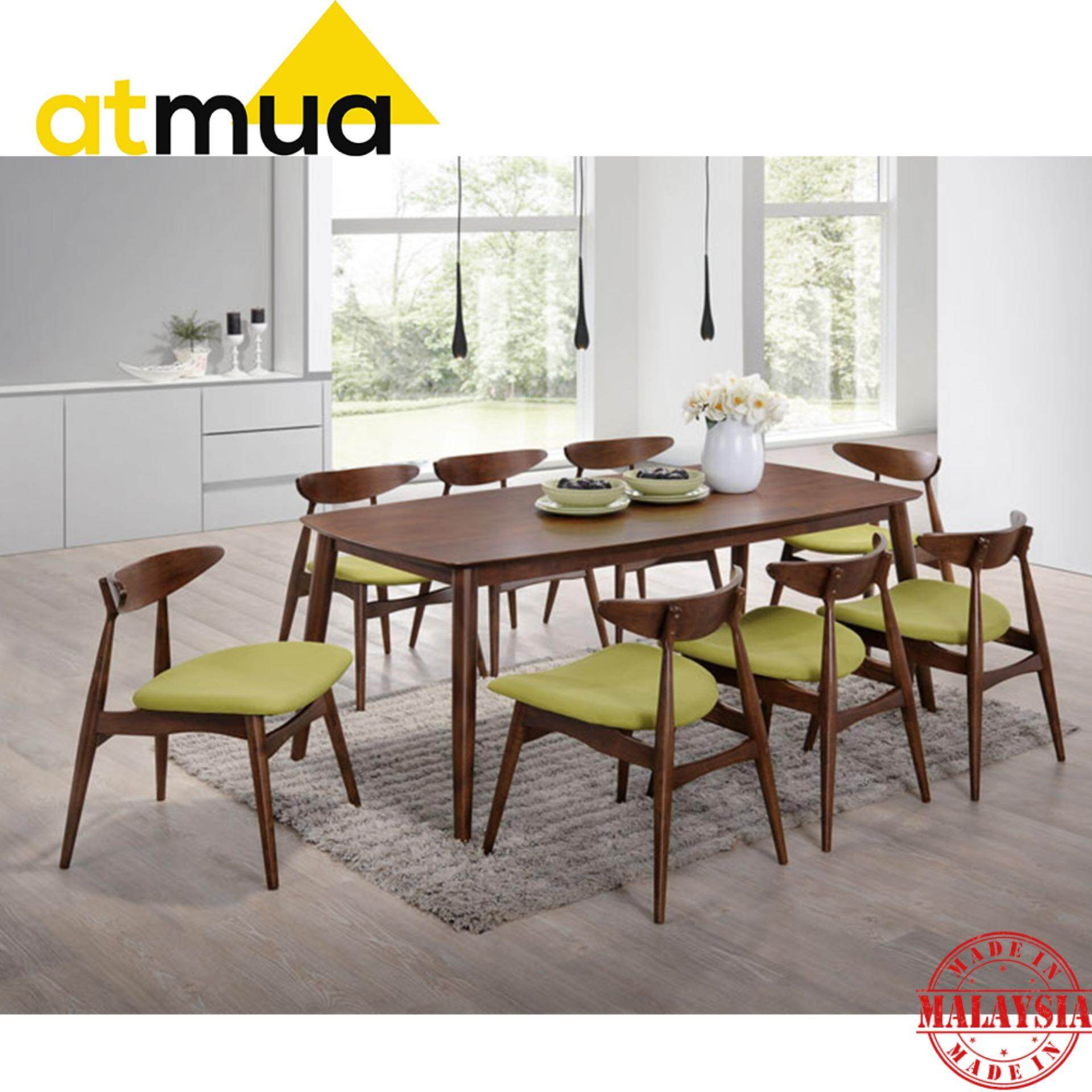 Atmua Borato Dining Set (1 Table + 8 Chairs) - Scandinavian Style [Full Solid Wood]