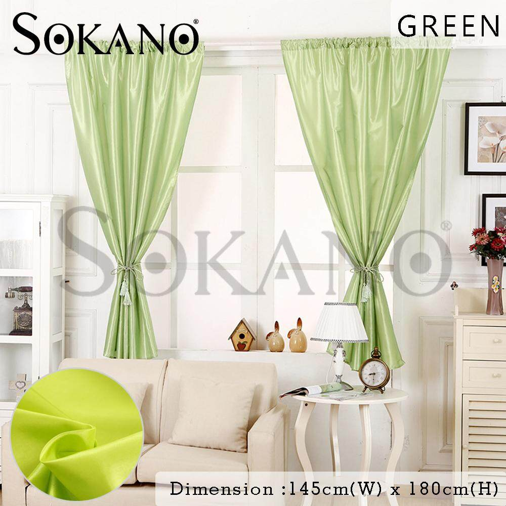 (RAYA 2019) SOKANO CT024 Pure Colour Window Curtain Door Curtain Pocket Style Use on Roman Rod Langsir Tingkap Pintu (145cm Wide x 180cm Height) 1 Pcs
