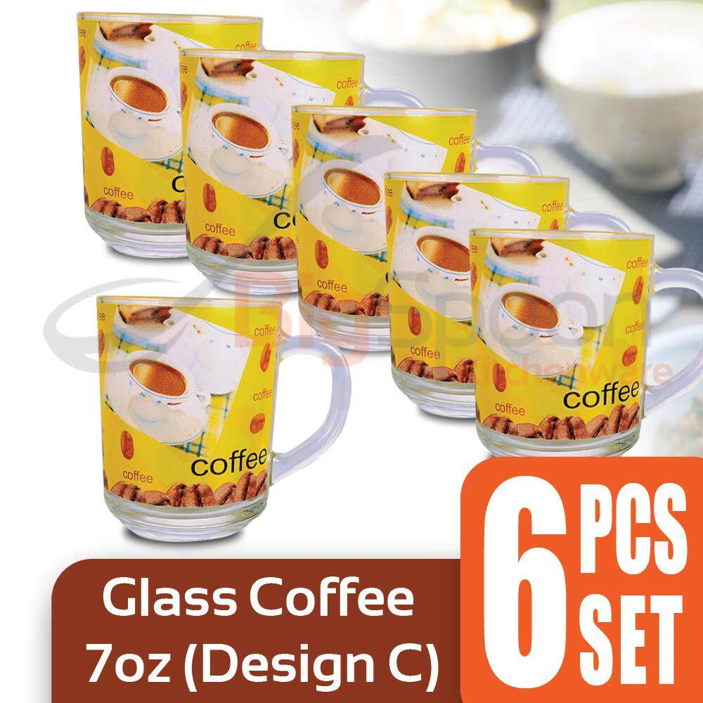 Glass Coffee Cup 7oz 6 PCS Set - Design C