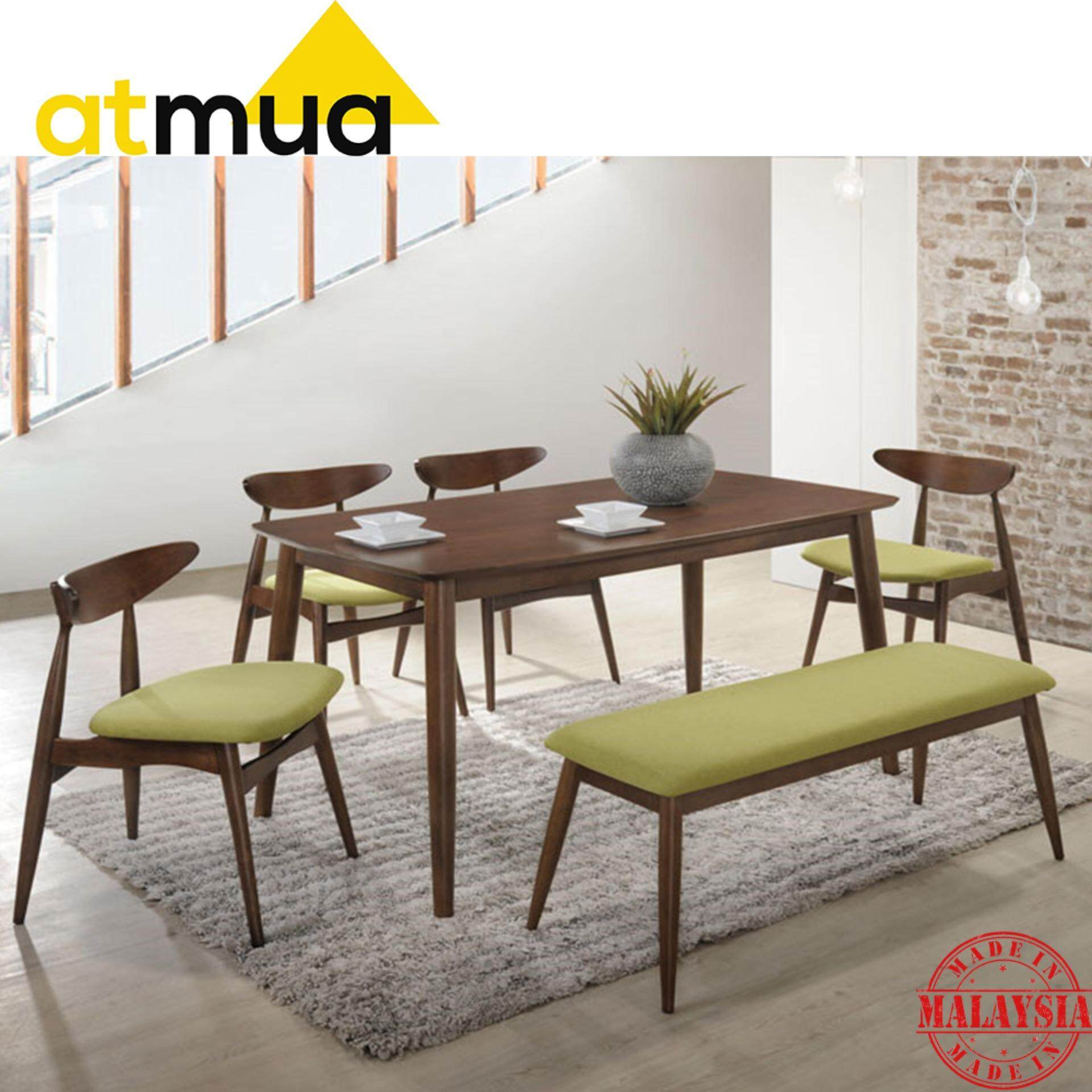 Incredible Atmua Borato Dining Set Furniture 1 Table 2 Chair 1 Bench Scandinavian Style Full Solid Wood Interior Design Ideas Gentotryabchikinfo