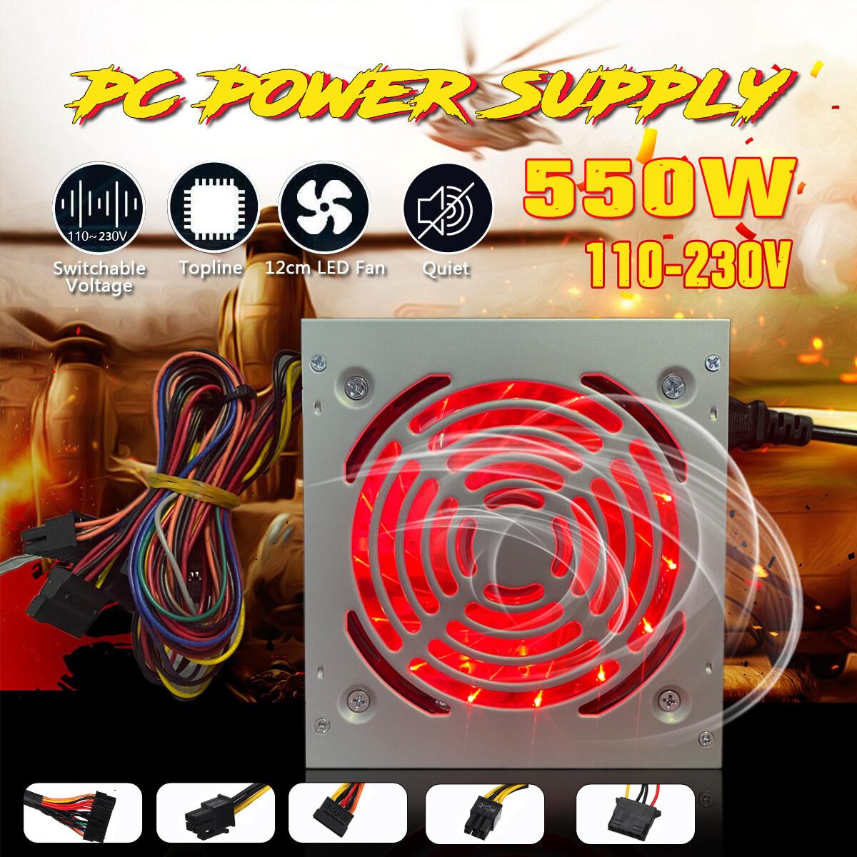 ATX 12V 1.3 530W/550W Passive Pc Power Supply EU Plug LED Red Lamp Case Power Supply