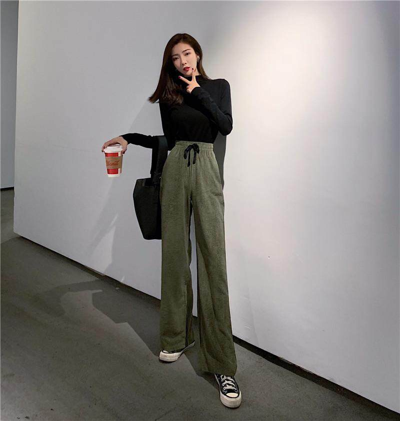 Gadis Republik Harga Lebar Kaki Celana Versi Korea Korduroi Peramping Pinggang Tinggi Celana Kasual - 3