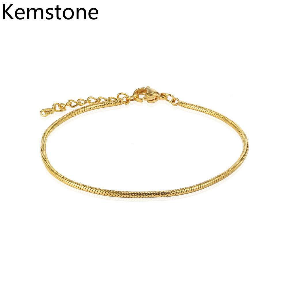 Kemstone Đơn Giản Vòng Đeo Tay Phong Cách Thanh Mảnh Vàng/Bạc Xương Rắn Hình Liên Kết cho Bé Gái