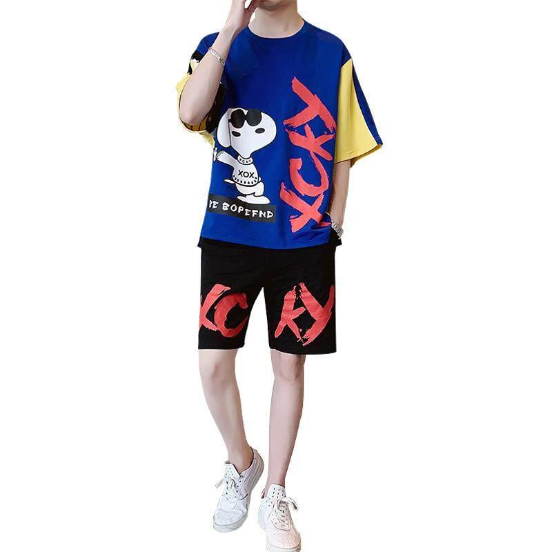 ผู้ชาย Tracksuit สบายๆ 2019 ฤดูร้อนใหม่ผู้ชาย O คอบางสบายผ้าฝ้ายแขนสั้น T เสื้อผู้ชายชุด TShirt