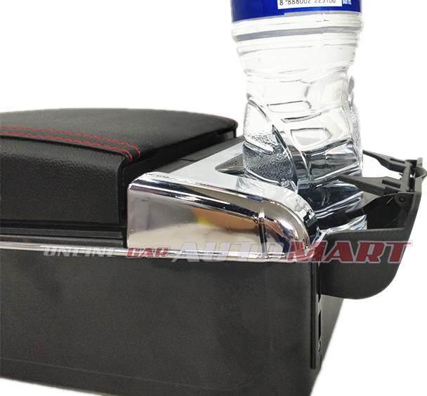 Honda BRV 7 USB Charger Port PVC Adjustable Arm Rest/Armrest Center Console Box (Red Line)