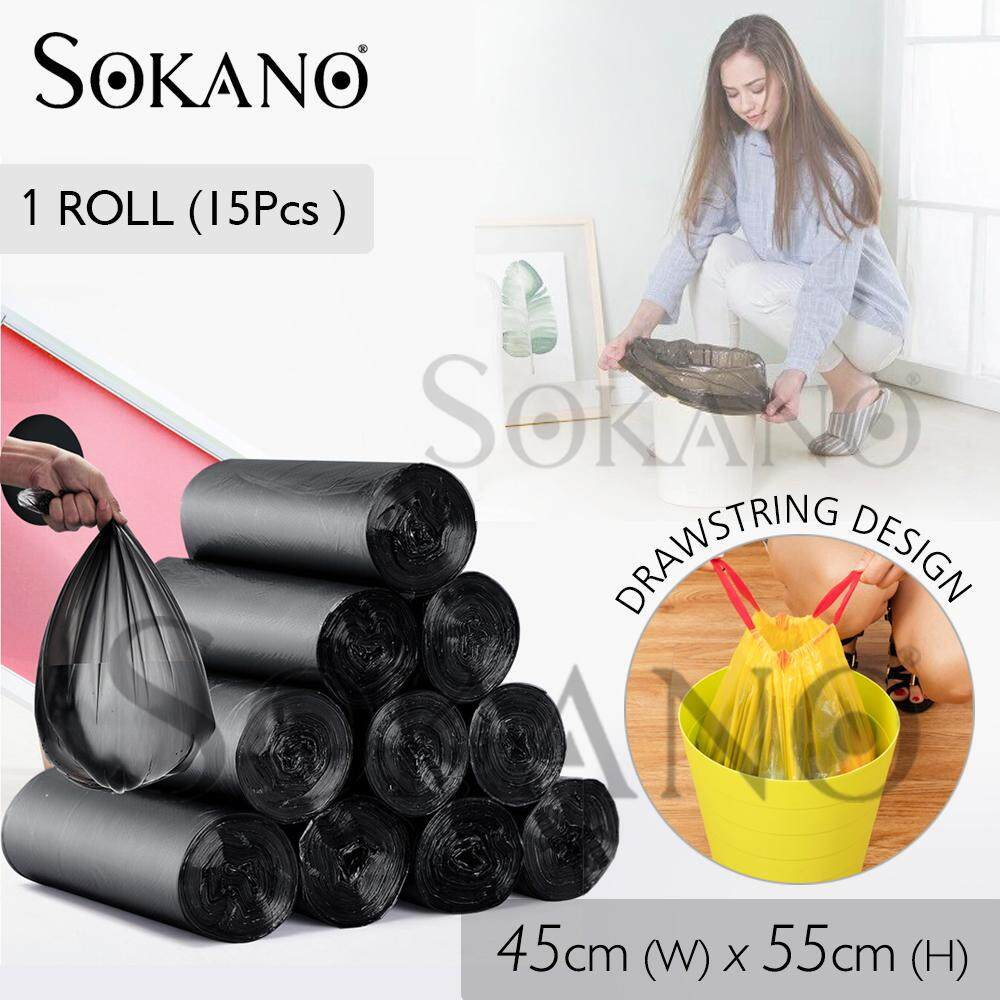 SOKANO Automatic Closing Garbage Bags with Rope (45cm x 55cm) 15 Pcs Super Value Set