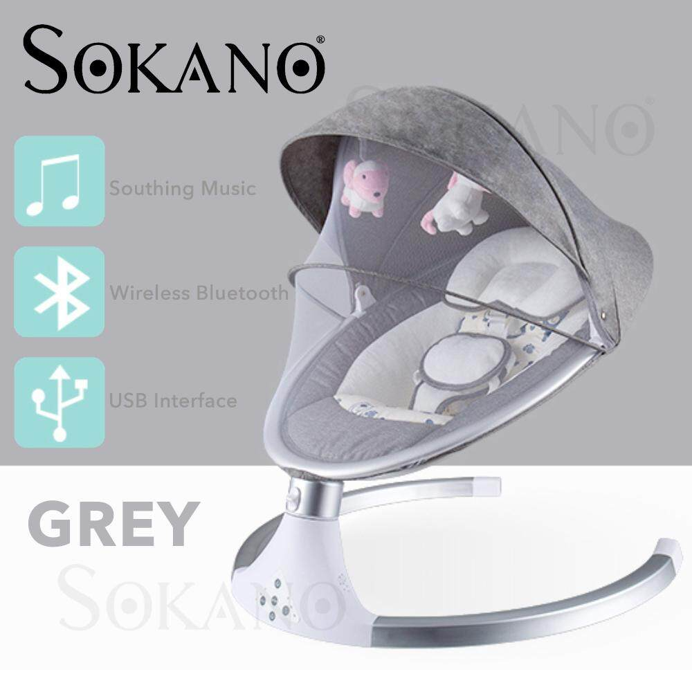 SOKANO B008 Baby Swing Chair Infant Baby Electric AutoSwing Cradle With Music Rocking Chair Buaian Bayi
