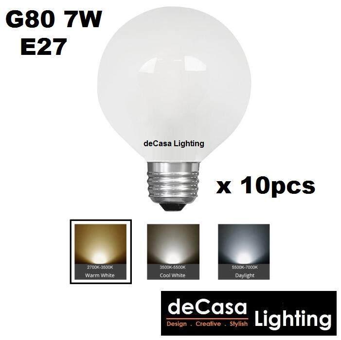 10pcs E27 G80 7W LED Frosted Globe Bulb for Pendant Light Ceiling Lamp Decasa Lighting Outdoor Light Globe Led (LY-G80-7W-E27)