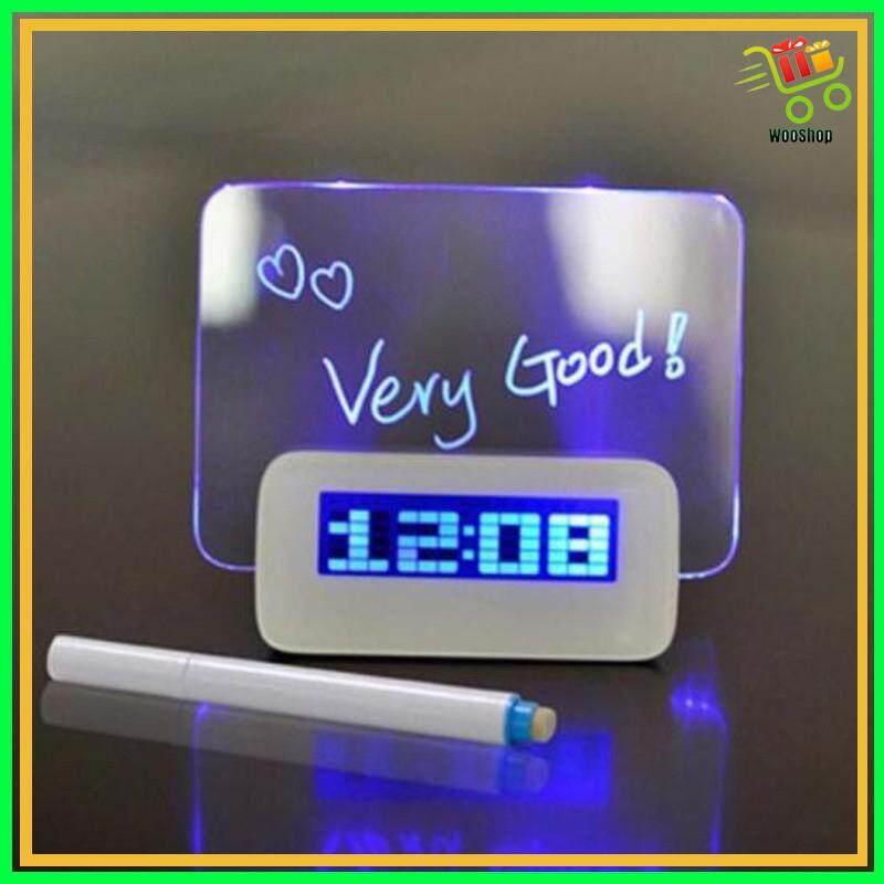 Digital Alarm Clock LED Fluorescent Digital Clock Message Board Desk Clock