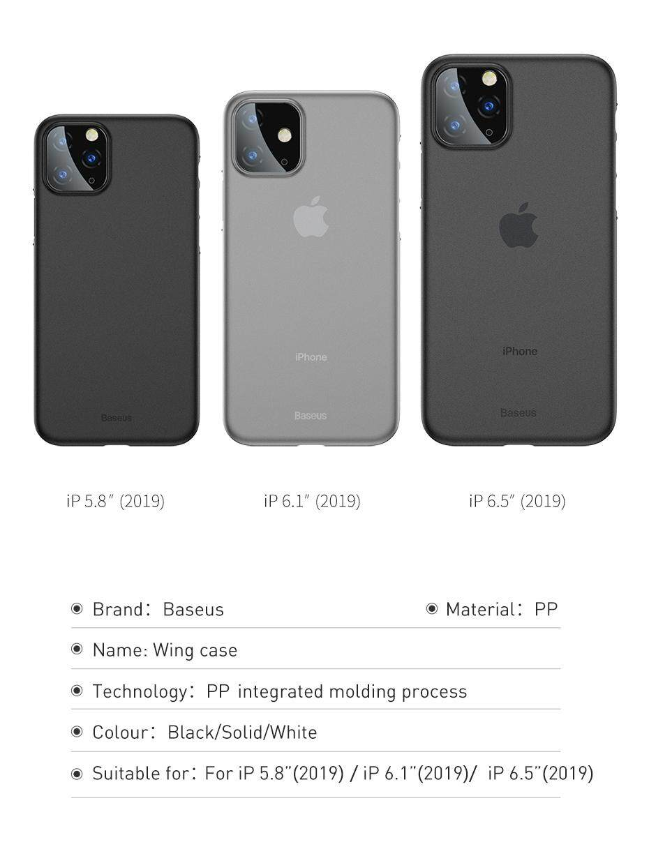 Baseus Luxury Phone Case For iPhone 11 Pro Max 11Pro Back Cover 0.4mm Ultra  Thin Silm PP Coque Fundas for iPhone 11 Pro Max Case Capa