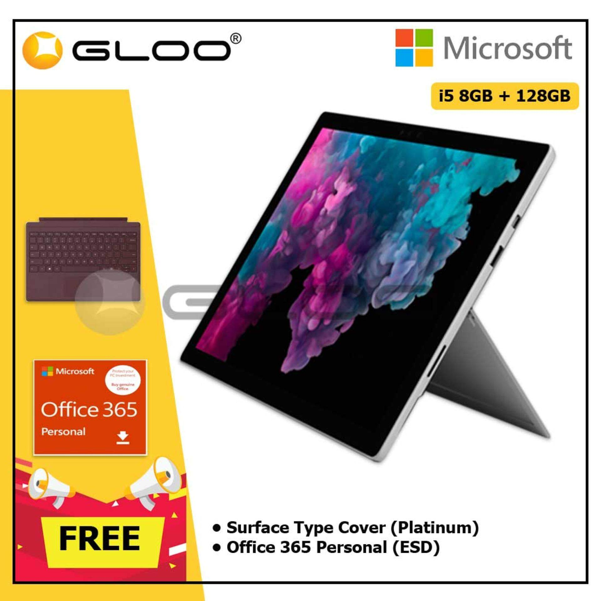 Microsoft Surface Pro 6 Core i5/8GB RAM -128GB + Type Cover Burgundy + Office 365 Personal (ESD)