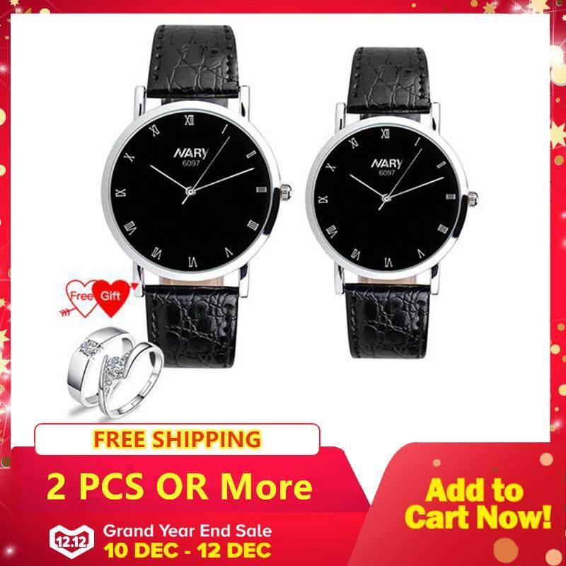 Homester Nary 6097 Klasik Pasangan Pria Wanita Tahan Air Wrist Watch Leisure Kuarsa Leather Mencintai Jam