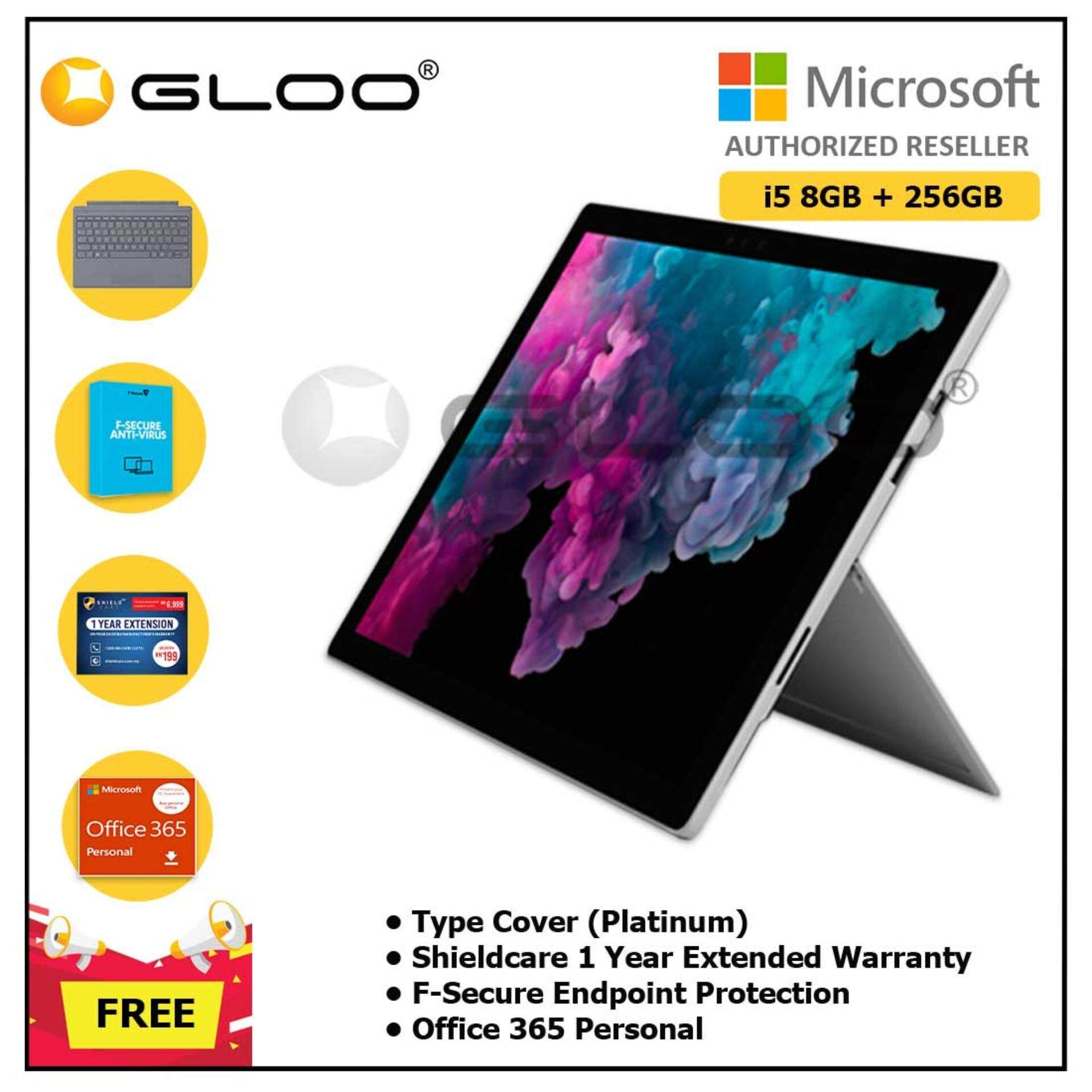 NEW Microsoft Surface Pro 6 Core i5/8GB RAM - 256GB + Type Cover Platinum + Shieldcare 1 Year Extended Warranty + F-Secure Endpoint Protection + Office 365 Personal
