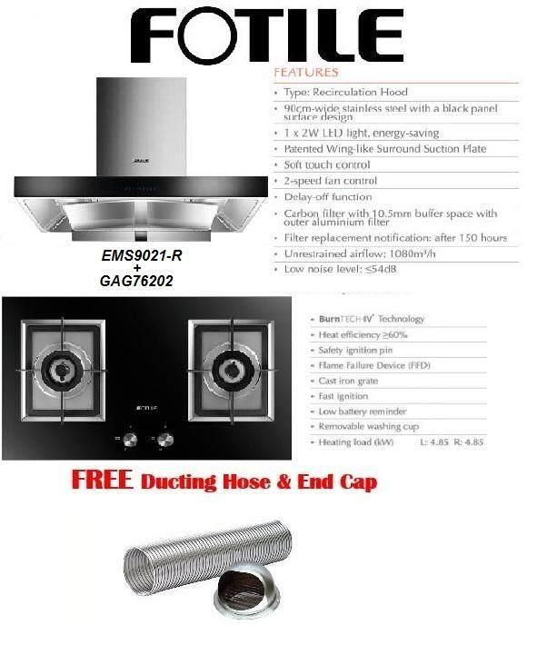 Fotile EMS9021-R Recycle Chimney Hood + Fotile Built-in Gas Hob Package