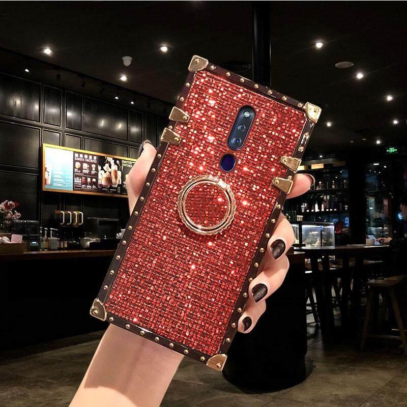 สำหรับ OPPO F11 Pro Stylish Square 3D Flash HOUSING หรูหราแหวนชุบวงเล็บหญิงที่สวยงาม Flash ฝาหลัง